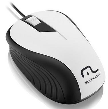 Mouse Emborrachado Branco e Preto USB MO224 - Multilaser