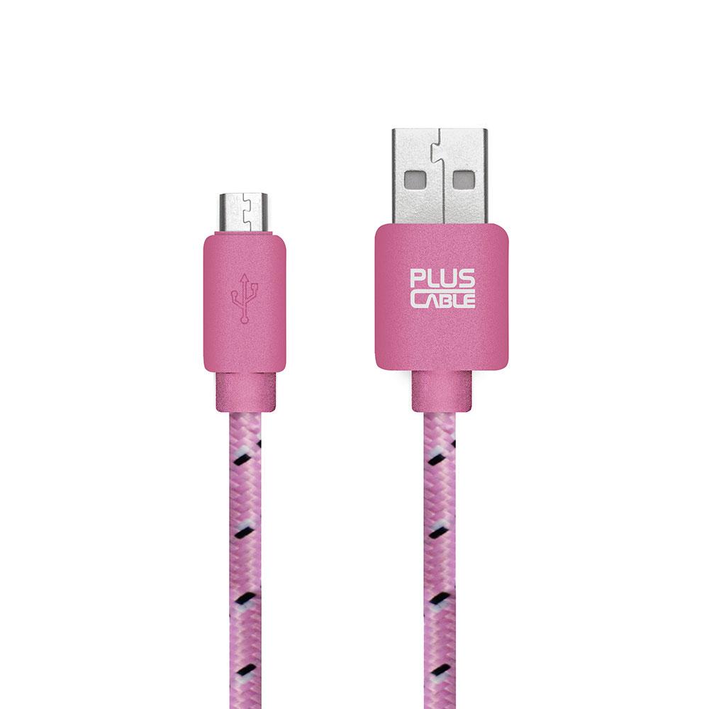 Cabo Micro USB-MC1002 PK 1.0M Rosa Nylon 258528 - Pluscable