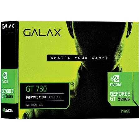 Placa de Vídeo Geforce GT730 2GB DDR3 128Bits 73GPF8HX3SNS - Galax
