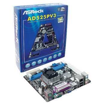 Placa Mãe AD525PV3 com Processador Intel Dual-Core Atom D525 1.8Ghz Integrado - AS-ROCK