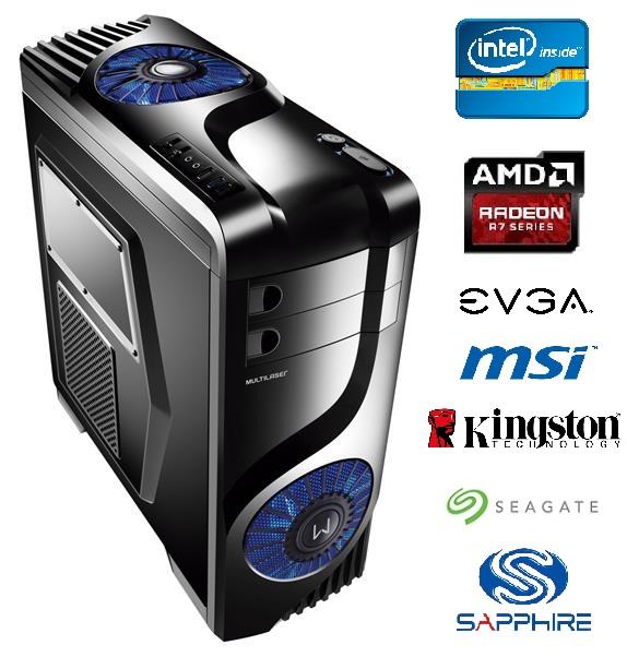 Computador Intel Core i3 3.70Ghz Memória 8GB HD 1TB Video ATI R7 360 2GB DDR5 DVD-RW Fonte 500W - Glacon