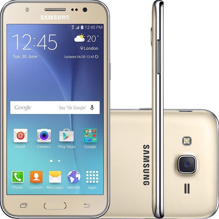 Smartphone Galaxy J5 Duos SM-J500M/DS, Quad Core 1.2Ghz, Android 5.1, Tela 5, 16GB, 13MP, 4G, Dual Chip, Dourado - Samsung