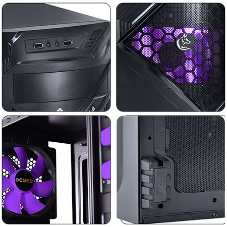 Gabinete Mid Tower Chacal Roxo Lateral de Acrílico 24565 - Pcyes