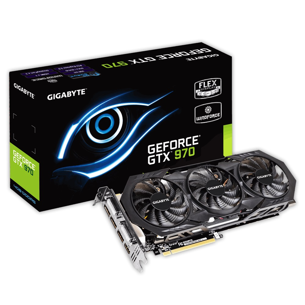 Placa de Vídeo Geforce GTX970 4GB DDR5 256Bits 3D Ready 4K GV-N970WF3OC-4GD - Gigabyte