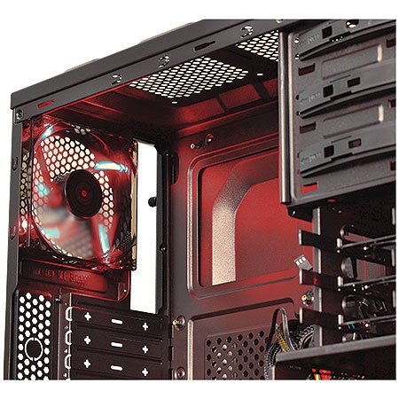 Gabinete Mid Tower Rhino Preto com Led Vermelho lateral acrílico RHINOPTOVM3FCABR 24201 - Pcyes