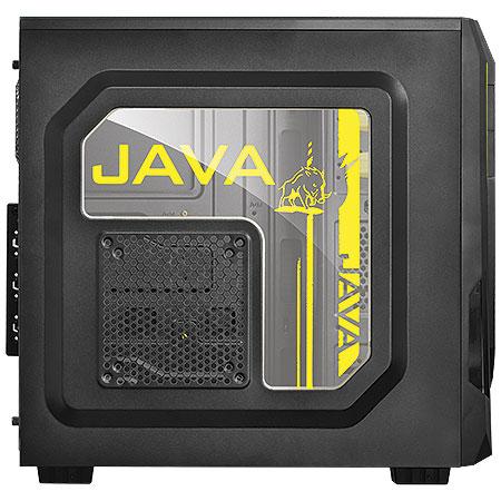 Gabinete Mid Tower Java Amarelo com Lateral de Acrílico JAVAPTOAM2FCA 21498/24227 - Pcyes