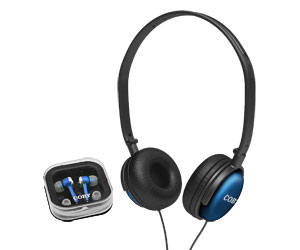 Fone de Ouvido Intra-Auricular Estereo + Headphone CV140 AZUL - Coby