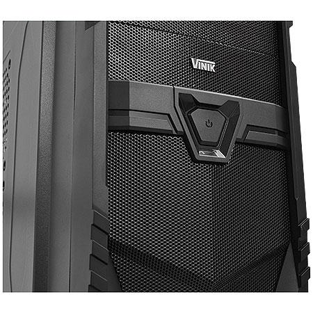 Gabinete Mid Tower Vulcan VX Gamer Preto fan Led Azul 19809 - Vinik