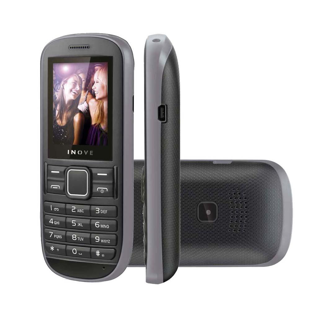 Celular Neo P3203 3 Chips QuadBand Camera MP3/FM Lanterna Cinza/Preto