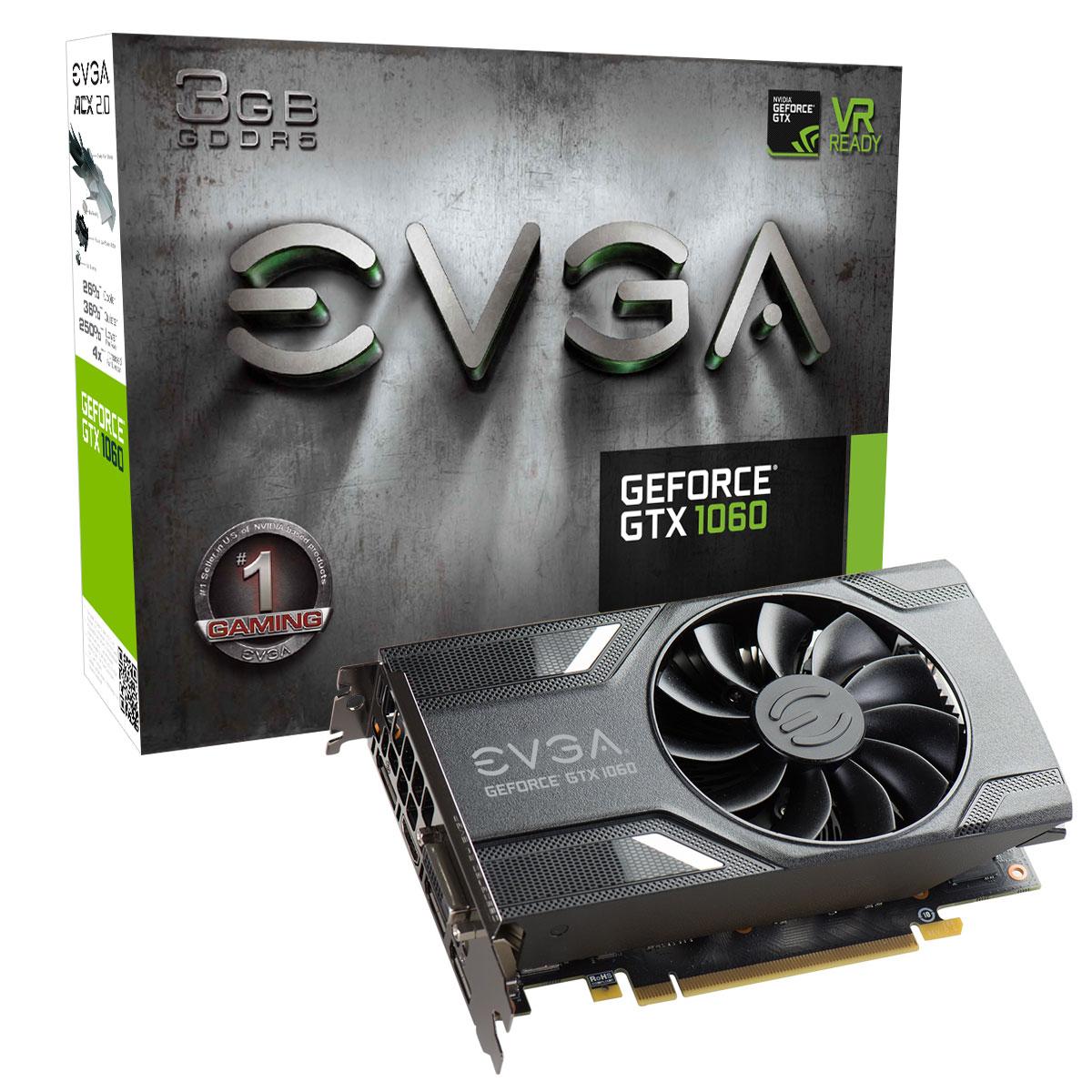 Placa de Vídeo Geforce GTX 1060 3GB DDR5 192Bits 03G-P4-6160-KR - EVGA