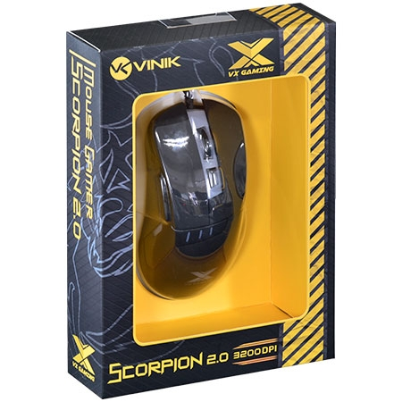 Mouse Optico VX Gaming Scorpion 2.0 3200 DPI Ajustavel 06 Botões Preto 25365 - Vinik