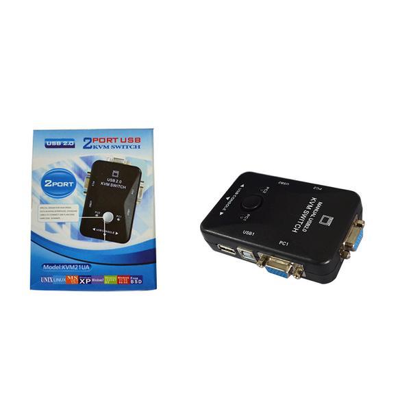 Switch KVM com USB 2.0 e 2 Saidas VGA KVM21UA (HUB0019) - OEM