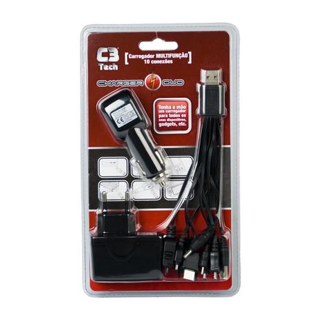Carregador Multifunção USB com 10 Conexões UC-200 Preto - C3 Tech