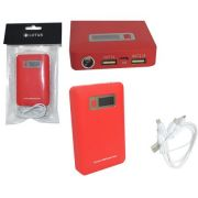 Carregador Portátil Universal USB/V8/V3/Iphone 5V Power Bank 12000mAc Vermelho AD0229R