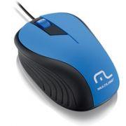 Mouse Emborrachado Azul e Preto MO226 - Multilaser