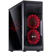Gabinete Mid Tower VX Gaming Guardian Preto Full Window 02 Fan Frontal 120mm Led Vermelho 26012 GRDPTOVM2FCA - Vinik