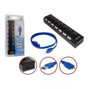 Hub USB 7 Portas 3.0 Suporta HD 1TB C/Liga e Desliga HUB0047 - OEM