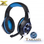 Fone de Ouvido Gamer com Microfone Vx Taranis com LED USB + P2 Preto/Azul 25827 - Vinik