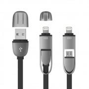 Cabo 2 em 1 USB com adaptador para Iphone Preto WI333 - Multilaser