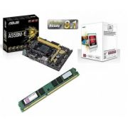 Kit AMD FM2 Processador A4 4000 3.2Ghz + Placa Mãe Asus A55BM-E + Memória de 4GB DDR3 KINGSTON KVR1333D3N9/4G - Glacon
