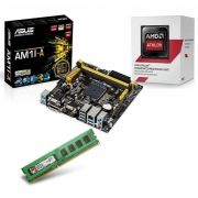 KIT AM1 Placa Mãe AM1M-A + Processador Athlon AM1 5150 Quad Core 1.6Ghz 1.6Ghz + Mem de 4GB DDR3 1333Mhz Kingston