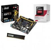 KIT AM1 Placa Mãe AM1M-A + Processador Athlon AM1 5150 Quad Core 1.6Ghz 1.6Ghz + Mem de 4GB DDR3 1600Mhz Logic