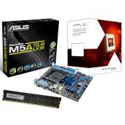 Kit AMD FX6300 3.5Ghz 14MB Box + Placa Mãe Asus M5A78L-M LX/BR - Memória de 4GB DDR3 1600Mhz Logic - Glacon