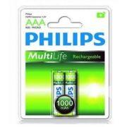 Pilha Recarregável C/2 AAA 1.2V 1000mah R03 - Philips