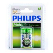 Pilha AA Recarregável C/2 und 1.2V 1600mAh R6B2A160/97 - Philips