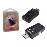 Adaptador Placa De Som USB 7.1 Com Entrada P2 e Fone Sound 7.1, AD0021CH - OEM