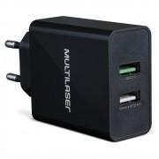 Carregador de Parede Concept 2 Portas USB Quick Charger Preto CB117 - Multilaser