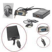 Conversor VGA para HDMI com Áudio e USB CC-VHA30 - Exbom