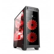 Gabinete Volcano VC830-Red LED Vermelho - Mazer Gamer