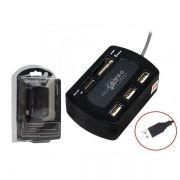 Hub USB com 3 Portas USB 2.0 e leitor de cartão universal CQT-C002 HB0052 - OEM
