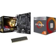 Kit AM4 Ryzen 5 2400G + Memória DDR4 8GB MM814 + Placa Mãe Gigabyte
