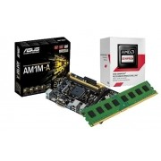Kit AMD Radeon AM1 2650 1,45Ghz Box + Memória de 4GB DDR3 + Placa Mãe Asus AM1M-A (S/V/R)