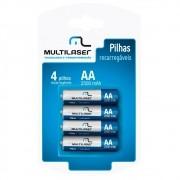 Pilhas AA Recarregáveis 2500 mAh (com 4 Pilhas) CB052 - Multilaser