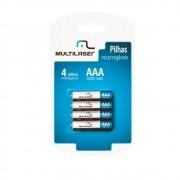 Pilhas Recarregáveis AAA 1000 mAh (com 4 Pilhas) CB050 - Multilaser