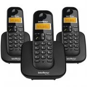 Telefone sem Fio TS3113 + 2 Ramais Adicionais Com Identificador de Chamadas Preto - Intelbras