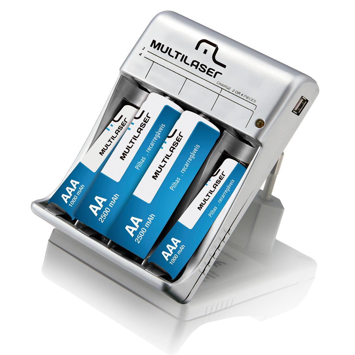 Carregador De Pilhas 2X AA + AAA Saída USB CB073 - Multilaser