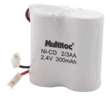 Bateria Ni-CD para Telefone Sem Fio 2-3AA 2.4V 300mAh - Multitoc