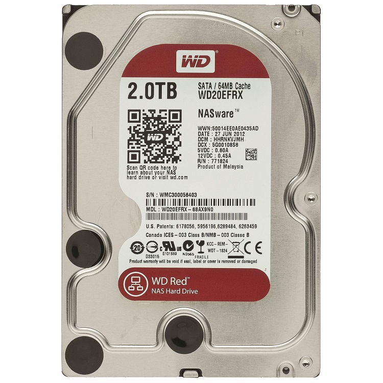 Hard Disk 2TB (Nas) Red Sata III 64MB WD20EFRX - Western Digital