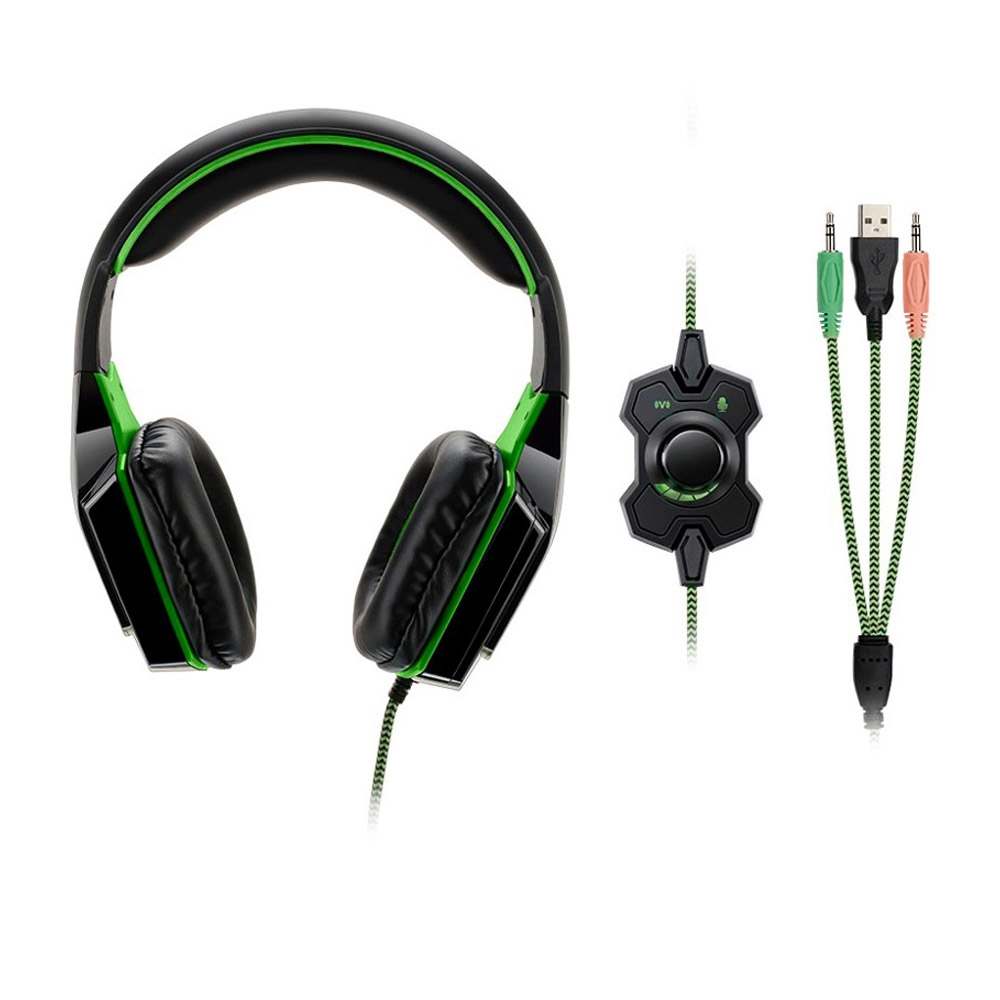 Fone de Ouvido com Micorfone Warrior USB/P2 Dual Shock LED Verde PH180 - Multilaser