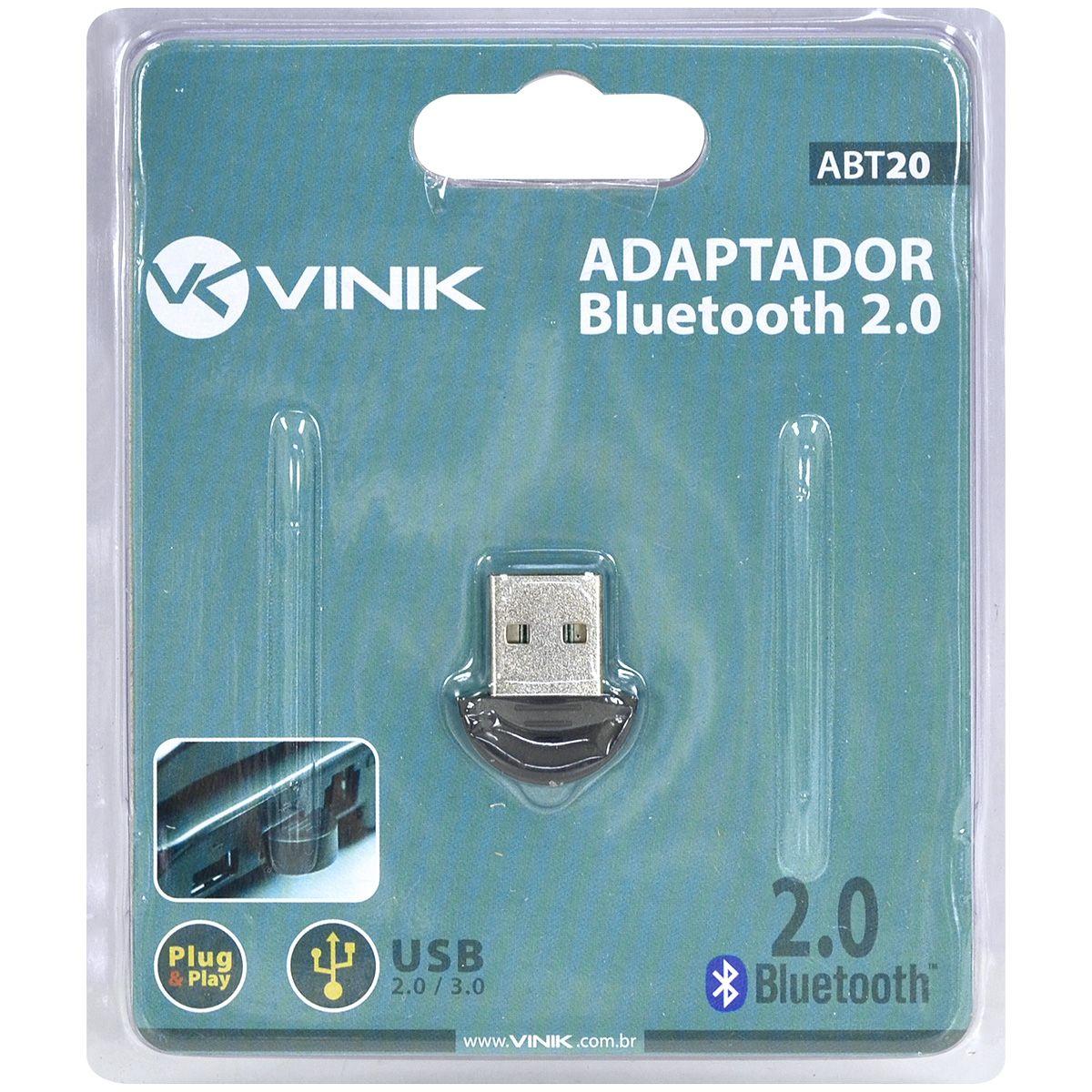 Adaptador Bluetooth 2.0 ABT20 Preto 26314 - Vinik