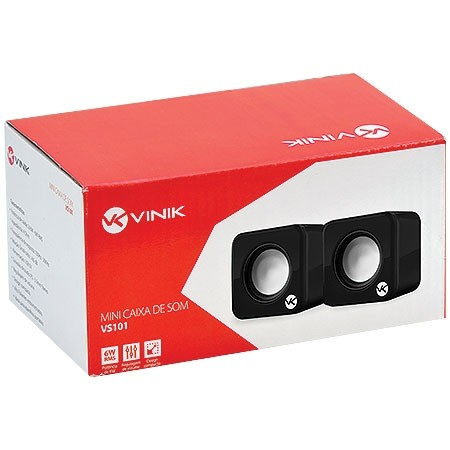 Caixa de Som 2.0 USB 6W RMS (2X 3W) VS-101 Preta 17350 - Vinik