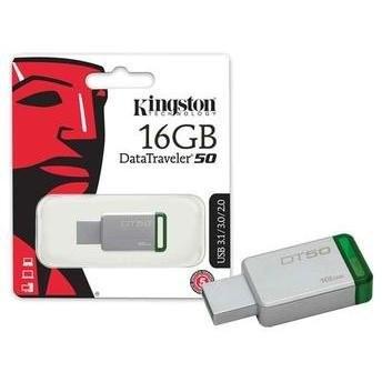 Pen Drive 16GB Datatraveler 50 USB 3.1 Metal/Verde DT50/16GB - Kingston
