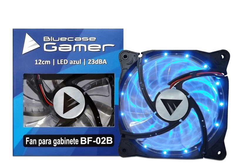 Cooler para Gabinete 120mm LED Azul (Hélice Transparente) BF-02B - Bluecase