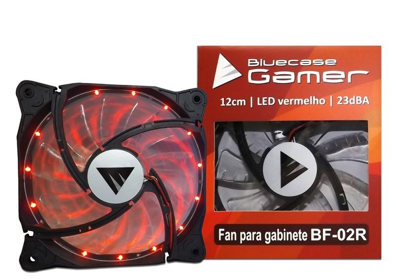 Cooler para Gabinete 120mm LED Vermelho (Hélice Vermelha) BF-02R - Bluecase