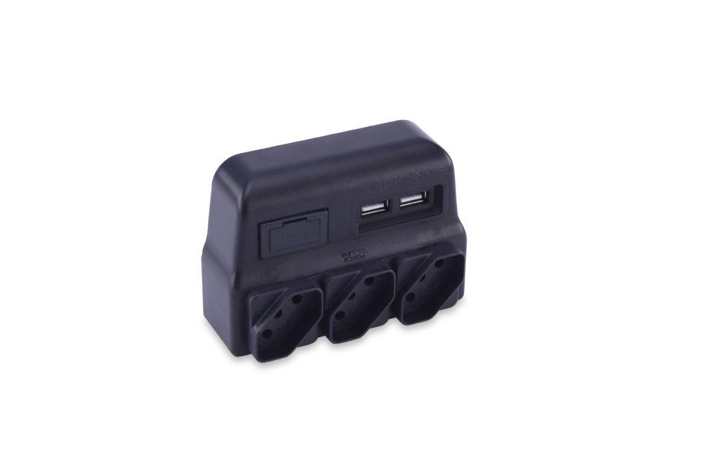 Pino Multiplicador de 3 Tomadas 10A com Carregador USB 5V 1A Bivolt 0180100021 Preto - Force Line (com ST)