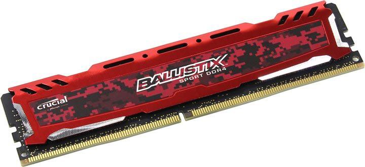 Memória Ballistix Sport LT 8GB 2400Mhz DDR4 CL16 Red BLS8G4D240FSEK - Crucial